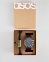 4ac9cb198c9fc1 Asos Design Watch And Bracelet Set In Brown With Burnished Gold Highlights