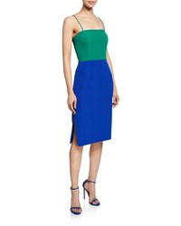 Milly Colorblock Sleeveless Italian Cady Pencil Dress Green Blue