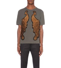 Dries Van Noten Peacock Embroidered Cotton Jersey T Shirt Khaki