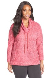 Plus Size Women's Sejour Heathered Cowl Neck Pullover Red Triblend Pattern