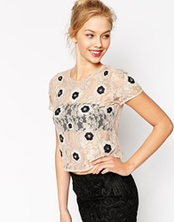 Asos T Shirt In Lace With Flower Embellishment And Open Back Blush