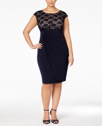 Connected Plus Size Sequined Lace Faux Wrap Cocktail Dress Navy Nude