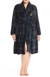 Plus Size Women's Lauren Ralph Lauren Short Print Fleece Robe Plaid Green Navy Multi
