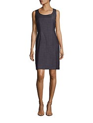 Lafayette 148 New York Rebecca Sleeveless Wool Blend Sheath Dress Ink Multicolor
