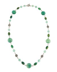 Stephen Dweck Long Fluorite And Dyed Green Jade Necklace
