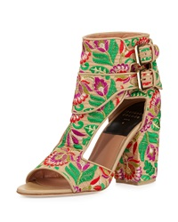 Laurence Dacade Rush Floral Embroidered Block Heel Sandal Nude Brown