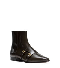 Michael Kors Laura Monk Strap Patent Leather Ankle Boot Olive
