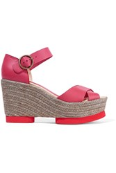 Paloma Barcelo Leather Espadrille Wedge Sandals Purple