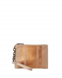 Neiman Marcus Suede Wristlet With Leather Stripes Taupe Rose