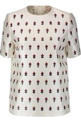 Tory Burch Mikado Appliqued Silk And Wool Blend Top Ivory
