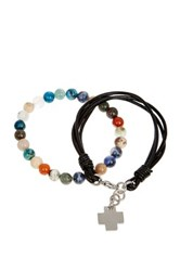 Jean Claude Cross Charm Leather Bracelet And Multicolor Agate And Quartz Bead Stretch Bracelet Set