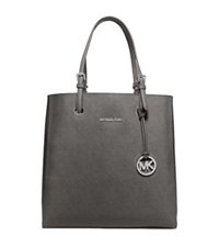 Michael Kors Jet Set Travel Medium Saffiano Leather Top Zip Tote Steel Grey