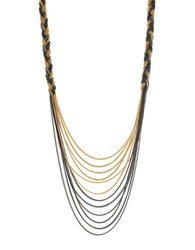 Jessica Simpson Braided Drape Necklace Gold