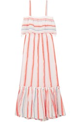 Lemlem Asha Tiered Striped Cotton Blend Gauze Maxi Dress Papaya