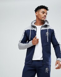 Gym King Muscle Track Hoodie In Navy With Contrast Panel Navy