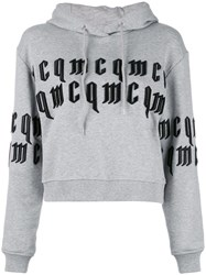 Mcq By Alexander Mcqueen Embossed Text Hoodie Grey