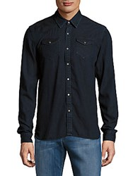 Scotch And Soda Long Sleeve Cotton Blend Denim Shirt Indigo