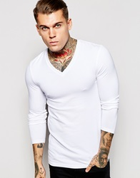 Asos Extreme Muscle Long Sleeve T Shirt With V Neck In White