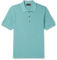 Altea Slim Fit Ribbed Cotton Polo Shirt Light Blue