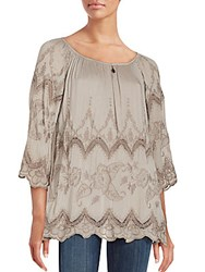 Saks Fifth Avenue Floral Embroidered Lace Inset Top Taupe