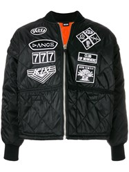 Ktz Scout Patches Quilted Bomber Jacket Black