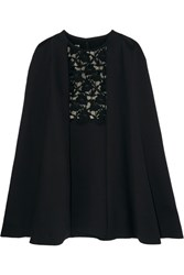 Giambattista Valli Convertible Guipure Lace Paneled Crepe Dress Black