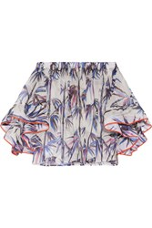 Emilio Pucci Off The Shoulder Stretch Silk Trimmed Printed Organza Top White