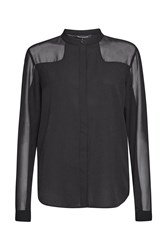 French Connection Polly Plains Collarless Shirt Black