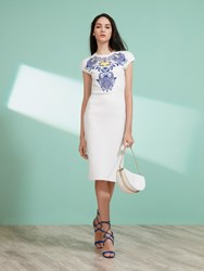 Shanghai Tang Cotton Royal Leaf Embroidery Short Sleeve Dress White