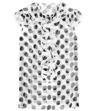 Dolce And Gabbana Printed Silk Top With Lace Trim White