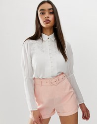 Fashion Union Embroidered Button Front Blouse With Balloon Sleeves White