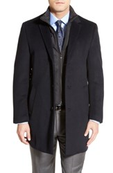 Hart Schaffner Marx Big And Tall Kingman Modern Fit Wool Blend Coat With Removable Zipper Bib Navy Black
