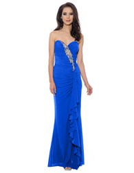 Decode 1.8 Strapless Ruffle Gown Royal Blue