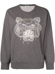 Kenzo Embellished Tiger Sweatshirt Grey
