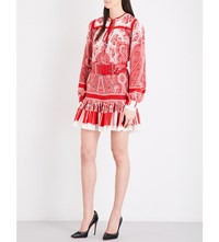 Alexander Mcqueen Paisley Print Silk Crepe De Chine Mini Dress Red Ivory