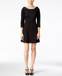 Maison Jules Striped Bow Shoulder Fit And Flare Dress Only At Macy's Deep Black