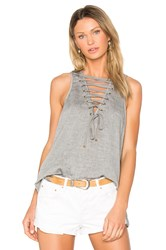 One Teaspoon The Dirty Work Lace Up Tank Gray
