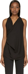 Cnc Costume National Black Draped Sleeveless Blouse