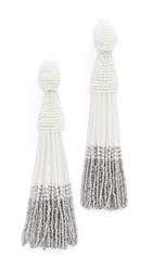 Oscar De La Renta Long Ombre Tassel Clip On Earrings White