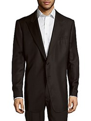 Armani Collezioni Textured Wool And Silk Blend Jacket Solid Black