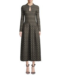 Alaia Long Sleeve Scalloped Golden Medallion Jacquard Dress Black Gold