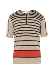 Faconnable Striped Knitted Henley T Shirt