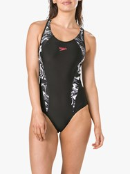 Speedo Fit Laneback Swimsuit Black Print