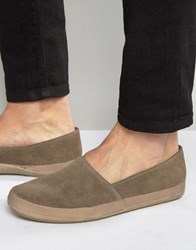 Frank Wright Havana Suede Espadrilles In Taupe Brown