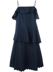 See By Chloe Scalloped Tiered Dress Blue
