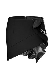 Anthony Vaccarello Mini Skirt With Leather Ruffle And Button Embellishment Black