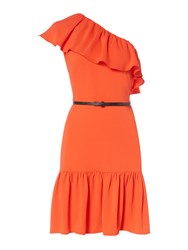 Therapy Clarissa One Shoulder Ruffle Dress Tangerine