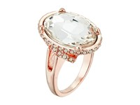 Guess Faceted Oval Stone Bezel Ring Set Rose Gold Crystal Ring