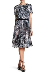 Karen Millen Marble Print Pleat Dress Multi