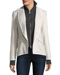 Veronica Beard Forest Cutaway Tonal Herringbone Wool Blend Blazer Gray